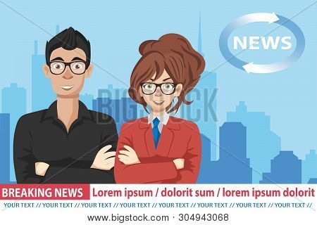 Anchorman On Tv Broadcast News. Breaking News Vector Illustration. Media On Television Concept. News