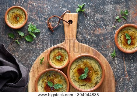 Creme Brulee, Or Crema Catalana, The Spanish Variation Of This Traditional Custard Dessert, Made In