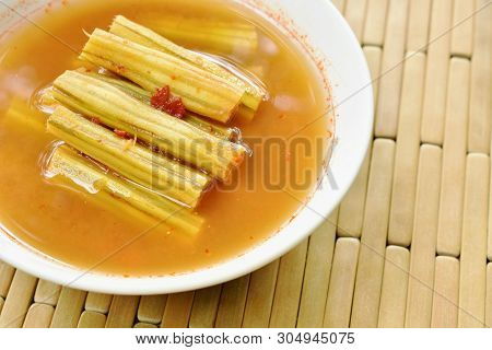 Boiled Moringa Or Horse Radish Tree In Spicy And Sour Soup On Bowl