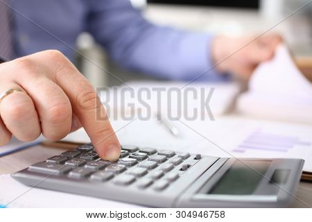 Secretary Calculate Finance Budget Tax Expenses. Business Man Financial Inspector Making Report, Cal