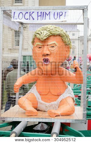 London, United Kingdom, June 4th 2019:- A Satue Of Donald Trump As A Toddler In A Cage On The Anti T