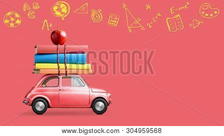 Back to school looped 4k animation. Car delivering books and apple against school blackboard with education symbols.