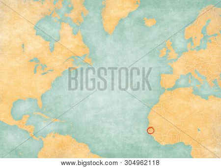 The Gambia on the map of North Atlantic Ocean in soft grunge and vintage style, like old paper with watercolor painting. poster