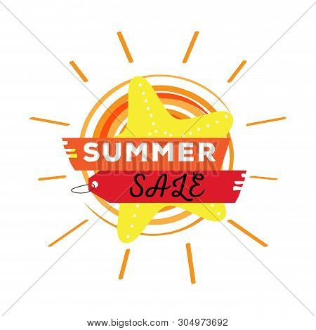 Textured Sun With A Seastar And Text. Summer Sale Label - Vector