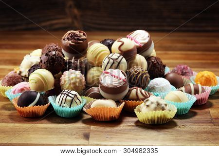 A Lot Of Variety Chocolate Pralines, Belgian Confectionery Gourmet Chocolate Praline.