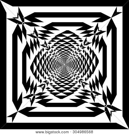 Arabesque Target Tridimensional Cross Like Inception Abstract Cut Art Deco Illustration On Transpare