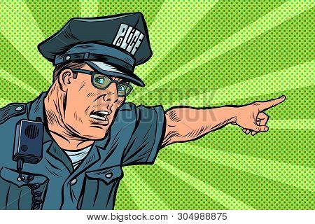 Police Officer Cop Points Directions. Pop Art Retro Vector Illustration Kitsch Vintage