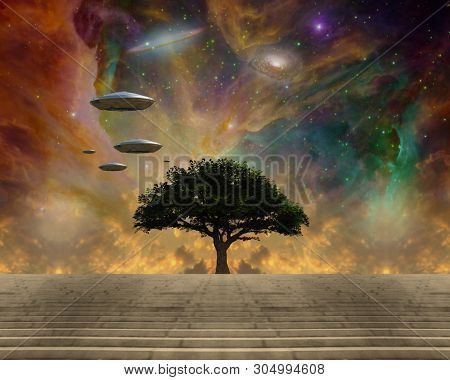 Beautiful surreal sci-fi landscape. Tree of Life and Spacecrafts. 3D rendering poster