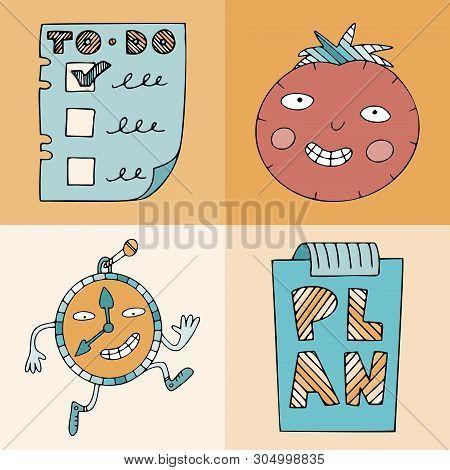Symbols For Time Management. Pomodoro Technique, Running Wall Clock, Todo List And Planning. Illustr
