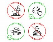 Do or Stop. Dislike, Stats and Woman love icons simple set. Woman read sign. Negative feedback, Business analysis, Romantic people. Girl studying. People set. Line dislike do icon. Prohibited ban stop poster