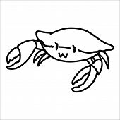 Cute fresh crab lineart cartoon vector illustration motif set. Hand drawn isolated crustacean elements clipart for marine life blog, monochrome prawn graphic, clawed animal web buttons. poster