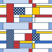 Simple modern pattern - seamless texture in Mondrian style. Design for gift wrapping paper or bedsheet. poster