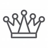 Crown line icon, royalty and leader, royal sign, vector graphics, a linear pattern on a white background. poster