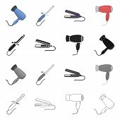Vector design of hair and hairdryer logo. Set of hair and straightener vector icon for stock. poster