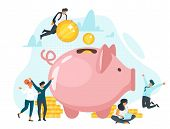 Coins in piggy bank flat vector illustration. Family saving money together. Quick cash, loan. Bankers, financiers, accountants, investors cartoon characters. Profit, income. Financial advising poster
