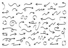 Arrows Big Black Set Icons. Arrow Icon. Arrow Vector Collection. Arrow. Cursor. Doodle Hand Drawn Ar