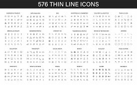 Big Collection Of 576 Thin Line Icon. Web Icons. Business, Finance, Seo, Shopping, Logistics, Medica