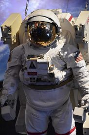Houston, Tx - Apr 19: Astronaut At Space Center In Houston Texas On April 19 2019. Its A Science And