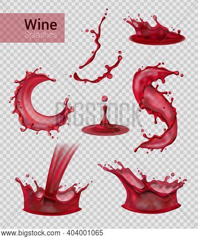 Wine Splash Realistic Set Of Isolated Sprays Of Liquid Red Wine With Drops On Transparent Background