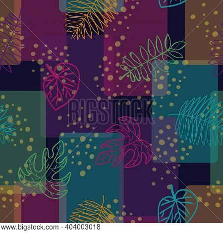 Vector Leaf Outlines In Green Pink Orange Turquoise On Multicolored Background. Seamless Repeat Patt