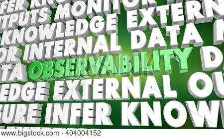 Observability Data Monitoring External Outputs Insights Word Background 3d Illustration