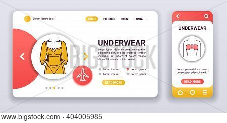 Lingerie Web Banner And Mobile App Kit. Category Of Womens Clothing Including At Least Undergarments