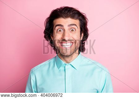 Photo Of Young Handsome Arabian Bristle Man Cheerful Positive Smile Good Mood Isolated Over Pink Col