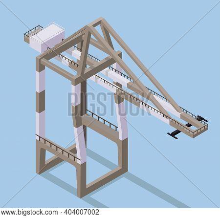 Vector Isometric Illustration Of Cargo Crane. Port Crane In Docks.