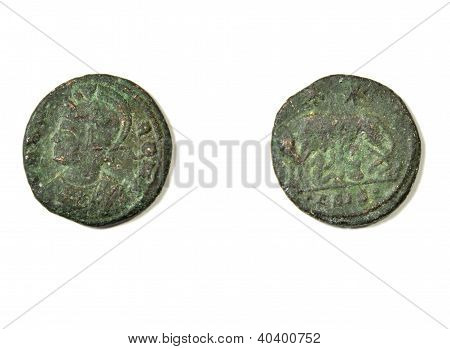 Ancient Roman coin on a white background. Allegory and Capitoline wolf with Romulus and Remus