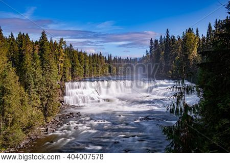 Wells Gray British Colombia Canada, Cariboo Mountains Creates Spectacular Water Flow Of Helmcken Fal