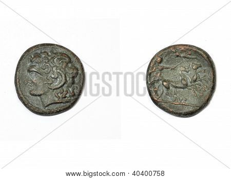 Ancient greek coin on a white background. Alexander the Great and Apollo with the chariot of the sun poster