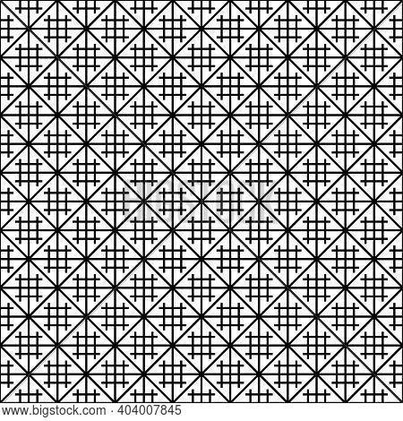Japanese Seamless Kumiko Pattern In Black Lines Average Thickness.