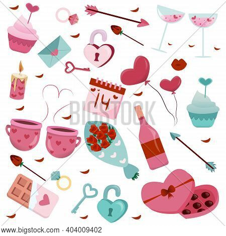 Set Of Valentines Day Elements. Cute And Pink Elements Isolated On White. Design Set For Valentine's