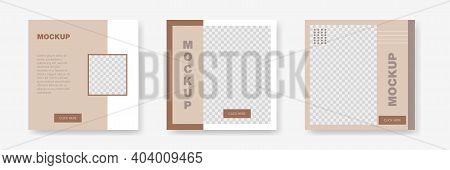 Square Banner Mockup. Social Media Frame Template. Square Editable Poster. Social Media Concept Bann