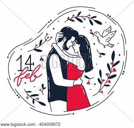 Valentine S Day February 14, Romantic Couple Hugs And Kisses. A Man, A Woman And A Pigeon In The Doo