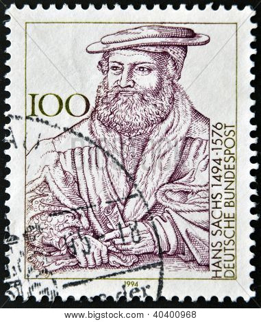 A stamp printed in the Germany shows the portrait of Hans Sachs German poet of the sixteenth century