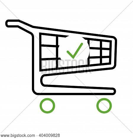 Shopping Cart And Check Mark Icon. The Order Is Complete. Place An Order. Trolley Symbol For Busines