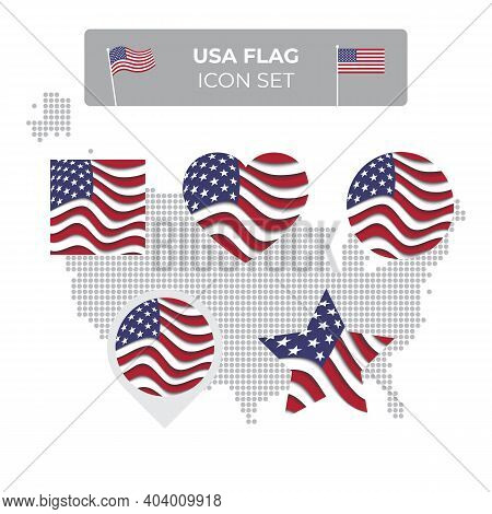 Usa Flag Icons Set In The Shape Of Square, Heart, Circle, Stars And Pointer, Map Marker. Usa Mosaic