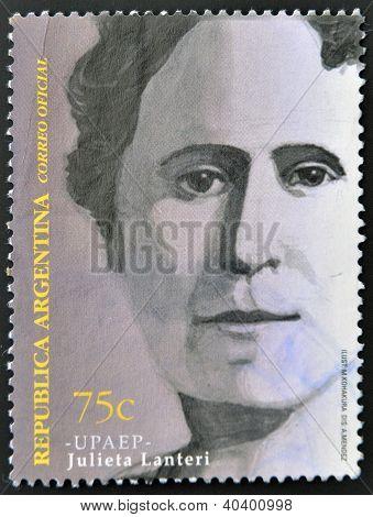 A stamp printed in Argentina shows Julieta Lanteri
