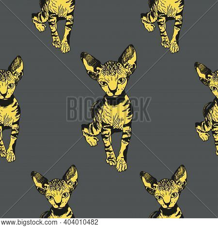 Sphinx Yellow Cat Seamless Pattern. The Cat Is Spotty. Striped Sketch Graphics. Prints For Clothes,