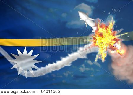 Strategic Rocket Destroyed In Air, Nauru Nuclear Warhead Protection Concept - Missile Defense Milita
