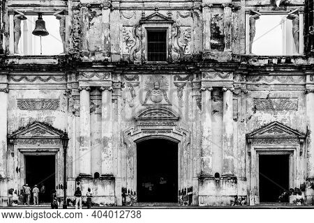 Leon, Nicaragua, September 2014: View On The Cathedral Of Leon In Nicaragua In Black And White.