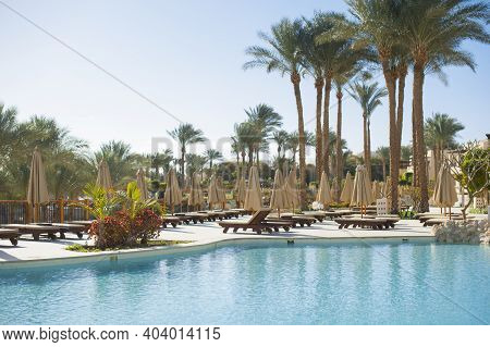 Summer Chaise Lounges Under An Umbrella On Sandy Sea Beach Pool And Palms In Hotel Egypt, Sharm El S
