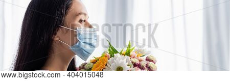 Side View Of Allergic Woman In Medical Mask With Flowers At Home, Banner