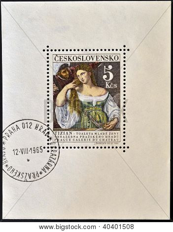 stamp printed in Czechoslovakia shows the woman in the mirror painting by Titian