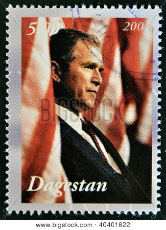 A stamp printed in Republic of Dagestan shows George Bush