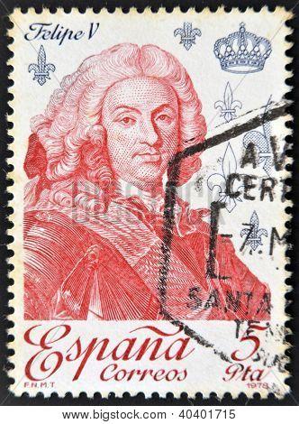 SPAIN - CIRCA 1979: A stamp printed in Spain shows King Philip V circa 1979