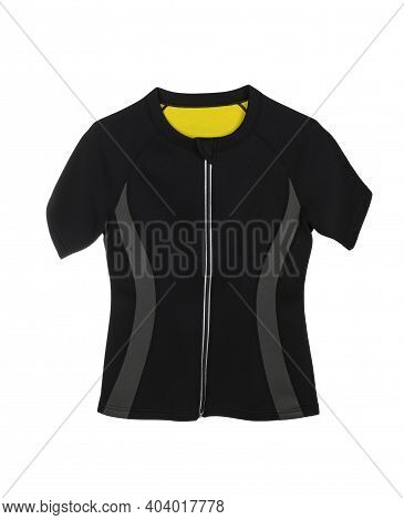 Sports Neoprene Blouse With Short Sleeves And Zipper Isolated On White Background. Sauna Effect And