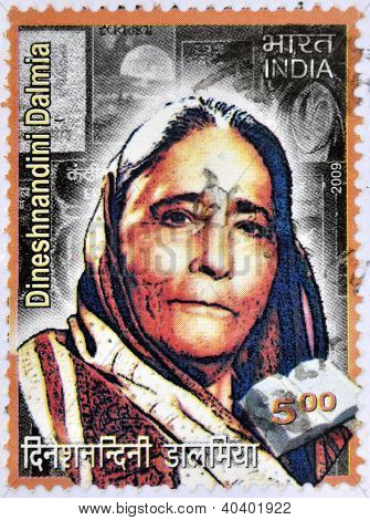 A stamp printed in India shows Padma Bhushan Dr. Smt. Dinesh Nandini Dalmia