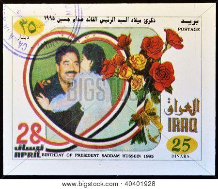 A stamp printed in Iraq shows Saddam Hussein